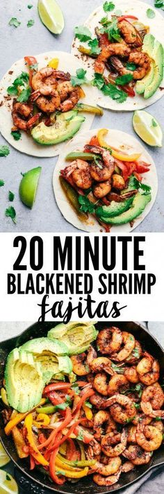20 Minute Skillet Bl 20 Minute Skillet Blackened Shrimp Fajitas are such an easy and flavorful meal packed with blackened shrimp peppers and onion. This classic meal is perfect served up in tortillas with avocado and chopped cilantro! Healthy Recipes, Fish Recipes, Seafood Recipes, Mexican Food Recipes, Dinner Recipes, Cooking Recipes, Onion Recipes, Seafood Meals, Recipies