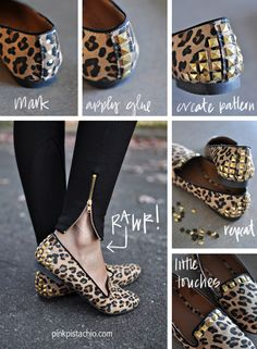 The post DIY Studded flats refashion. appeared first on Best Of Daily Sharing. Diy Clothes And Shoes, Diy Clothing, Metal Fashion, Diy Fashion, Fashion Dresses, Ballerine Leopard, Shoe Makeover, Diy Shorts, Diy Mode