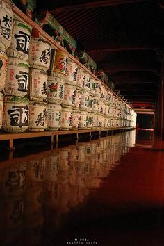 Sake barrels at a temple in Kyoto, Japan