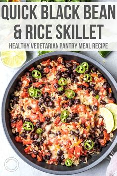 This Mexican-inspired black bean and rice skillet is an easy one-pot dinner recipe made with pantry staples! Ready in 20 minutes, this gluten-free recipe is packed with flavor for a hearty vegetarian meal. Vegetarian Recipes Dinner, Vegan Recipes, Dinner Recipes, Cooking Recipes, Vegetarian Rice And Beans Recipe, Kitchen Recipes, Keto Dinner, Dinner Ideas, Dessert Recipes