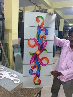 Balcony Glass Design, Window Glass Design, Door Design, Glass Etching Designs, Glass Painting Designs, Paint Designs, Glass Railing, Pooja Rooms, Lord Ganesha