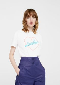 Embroidered message t-shirt -  Women | MANGO USA
