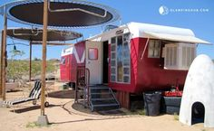Retro Trailer Cabin with Trampoline Awning