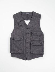 Engineered Garments Charcoal Brushed Small Herringbone C–1 Vest