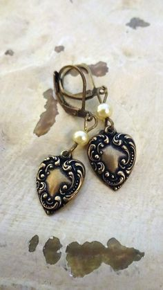 73bc5b6dc51 Marie Antoinette Heart Earrings Rococo by BerthaLouiseDesigns Shabby Chic  Jewelry