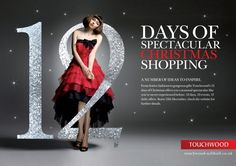 Touchwood 12 days of Christmas Christmas Adverts, Christmas Poster, Christmas Graphics, Christmas Banners, Fashion Web Design, Email Newsletter Design, Christmas Campaign, Advertising Design, Advertising Ideas