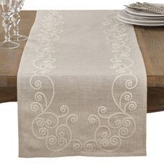 Embroidered Swirl Design Simple Natural Linen Blend Table Runner - Saro Lifestyle embroidered swirls bring a playful quality to this beautiful table runner. Featuring a linen-blend construction, the Swirl Embroidered Runner offers a n Types Of Embroidery, Embroidery Patterns, Hand Embroidery, Japanese Embroidery, Flower Embroidery, Table Runner Pattern, Hardanger Embroidery, Swirl Design, Satin Stitch