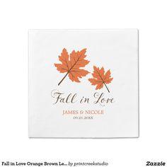 Fall in Love Orange Brown Leaves Wedding Standard Cocktail Napkin