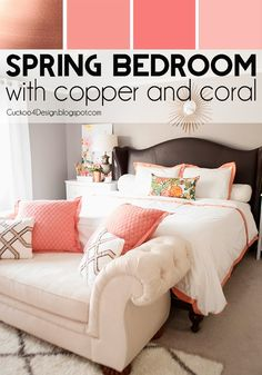 Copper, Coral and Blush Bedroom: button tufted chaise, leather studded bed, cream and coral accents - Cuckoo4Design