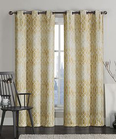 Loving this Yellow Andreas Saxton Grommet Curtain Panel - Set of Two on #zulily! #zulilyfinds