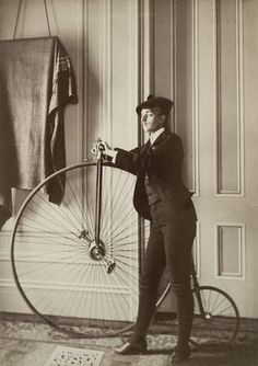 Frances Benjamin Johnston, American photojournalist, took this self portrait with a bicycle. Johnston wrote What A Woman Can Do with a Camera for the Ladies Home Journal in 1897, a year after Bicyling For Ladies was published. Notice the painted on moustache.