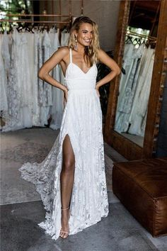 2018 Sexy Beach Wedding Dress, Summer Beach Wedding Dresses, Charming Lace Long A-line Spaghetti Straps Split Beach Wedding Dress by Miss Zhu Bridal, $169.00 USD