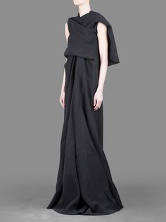 RICK OWENS - TWISTED SILK'WEDDING' DRESS WITH DRAPED FRONT AND SHAWL COLLAR