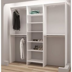 TidySquares White Wood 75 Reach-in Closet Organizer (White)(Laminate) Reach In Closet, Closet Space, Closet Library, Make A Closet, Closet Redo, Attic Library, Simple Closet, Attic Storage, Closet Storage