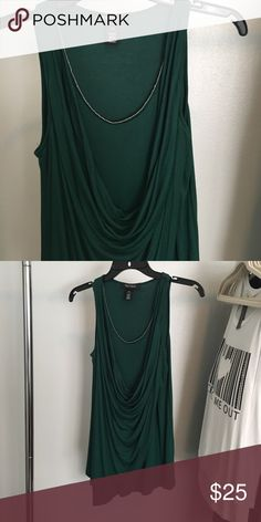 White House Black Market Sleeveless Tunic Pretty emerald green with gold details at neckline. Fits and drapes beautifully. White House Black Market Tops Tunics