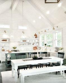 Modern Farmhouse Kitchen Shiplap White Farm Table Vaulted Ceilings Open Shelving IG @thefairygodfarmer