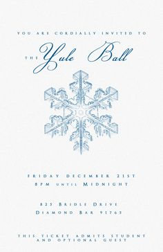 Yule Ball Party invitation template