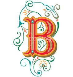 Floral letter b vector