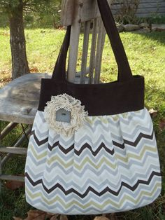 """The """"OLIVIA""""   Bag - purse  or tote bag -   in brown and grey chevron stripes with lace accent. $40.00, via Etsy."""