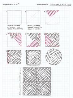 Zentangle Patterns Step By Step Tangle patterns Zentangle Drawings, Doodles Zentangles, Doodle Drawings, Tangle Doodle, Zen Doodle, Doodle Art, Zantangle Art, Op Art, Doodle Patterns
