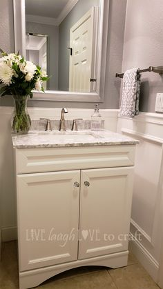 Vinnova Naples 30 in. Vanity - White with Gray Marble Top | Home Depot