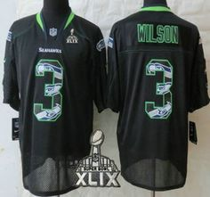 nike seattle seahawks jersey 3 russell wilson 2015 super bowl xlix lights out black ornamented elite