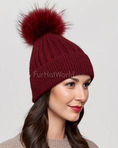 8912383295531 Coco Wine Rib Knit Beanie Hat with Finn Raccoon Pom Pom