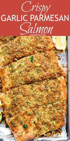 Crispy Garlic Parmesan Salmon - Crispy Garlic Parmesan Salmon is ready and on your table in less than 15 minutes, with a crispy top! Restaurant quality salmon right at home! == CLICK THROUGH TO SEE! Salmon Recipe Videos, Baked Salmon Recipes, Seafood Recipes, Dinner Recipes, Cooking Recipes, Healthy Recipes, Seafood Meals, Healthy Meals, Seafood Pasta
