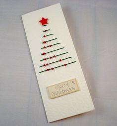 Items similar to Christmas Tree Card Hand Sewn Merry Christmas Holiday Greeting Card on Etsy
