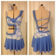 """Custom Dance Costume for Leila, """"Almost Lover"""" - Beautiful Periwinkle color with Lace Overlay"""