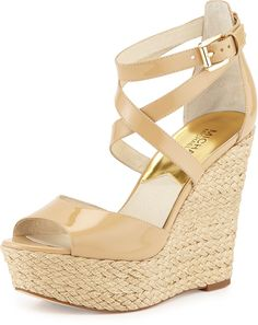 MICHAEL Michael Kors Gabriella Patent Leather Wedge Sandal, Nude    <>  @kimludcom
