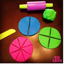 Great teaching fractions in first grade tricks on this post including using dough to teach partitioning shapes into equal parts. it makes a great small group fractions activity that helps students see and understand fractions Fraction Activities, First Grade Activities, Math Activities, Math Games, Fraction Games, Teaching Fractions, Math Fractions, Teaching Math, Dividing Fractions