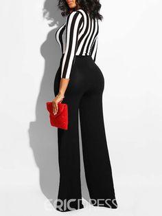 1886c4f5ddbd Ericdress Patchwork Striped Color Block Women s Jumpsuit 13458320 -  Ericdress.com