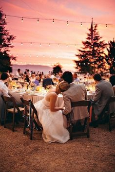 Love the intimate feeling of this outdoor mountain reception, with a beautiful sunset