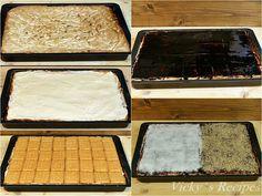 Prăjitură cu blat din bezea cu nucă și cremă de vanilie – Vicky's Recipes Romanian Desserts, Cornbread, Biscuit, Sweet Treats, Deserts, Ethnic Recipes, Food, Erika, Festive