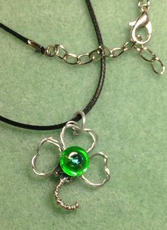 Wire Wrapped Three Leaf Clover with glass Rondelle bead wire Wrapped 3 leaf clover necklace on Etsy, $10.00