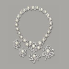 Cultured Pearl and Diamond Demi-Parure Book Jewelry, Gems Jewelry, Pearl Jewelry, Jewelery, Fine Jewelry, Real Diamond Necklace, Jewelry Design Drawing, Pearl Design, Pearl Set