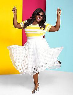 c701a5f570c Plus Size Fashion - Christian Siriano Organza Plaid Circle Skirt (plus size)   plussizefashion