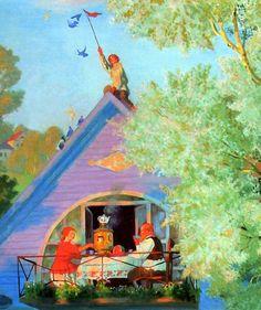 Голубой домик. Фрагмент. Б. М. Кустодиев. (1920)