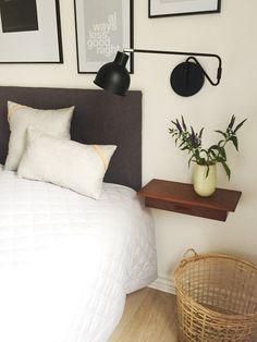 Sostrene grene pillows, wall-mounted lamp, ceramic vase and nature basket b Apartment Bedroom Decor, Cozy Bedroom, Apartment Living, Wall Mounted Lamps, Diy Room Divider, Blue Bedding, Home Decor Inspiration, My Room, Ikea