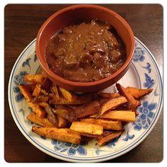 Zalig stoofvlees met friet van zoete aardappel. #genieten.. #allerhande…