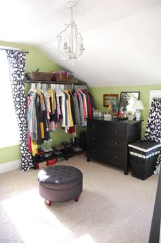 My house was built in By a man. The closets in each room are tiny. Im not really a clotheshorse but closet space is at a premium in my house so I decided to turn the extra bedroom Spare Bedroom Closets, Room Design, Bedroom Turned Closet, Room Wall Colors, Spare Bedroom, Extra Bedroom, Dressing Room Design, Room, Black Closet