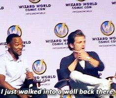 Sebastian stan hahahaha he seems to walk into things a lot....first a refrigerator, now a wall....