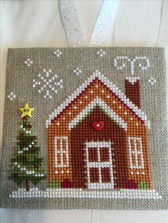 Celtic Cross Stitch, Cross Stitch House, Xmas Cross Stitch, Cross Stitch Cards, Cross Stitching, Cross Stitch Embroidery, Cross Stitch Christmas Ornaments, Christmas Cross, Christmas Sewing