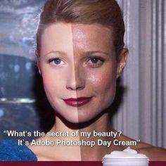 """What's the secret of my beauty? It's Adobe Photoshop Day Cream."" Adobe Photoshop = Eternal Beauty"