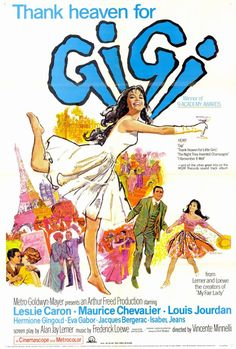 CAST: Leslie Caron, Louis Jourdan, Maurice Chevalier, Hermione Gingold, Eva Gabor, Isabel Jeans, Jacques Bergerac; DIRECTED BY: Vincente Minnelli; WRITTEN BY: Alan Jay Lerner; CINEMATOGRAPHY BY: Josep