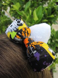 Halloween fabric Hello Kitty Ears hair clip set by TiedTutusAndThings