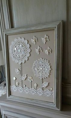Items similar to old shabby style crochet doilies table on Ets . - Items similar to old shabby style crochet doilies table on Etsy - Framed Doilies, Lace Doilies, Crochet Doilies, Crochet Lace, Crochet Bedspread, Button Art, Button Crafts, Crochet Crafts, Sewing Crafts