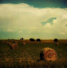 I love hay bales and clouds
