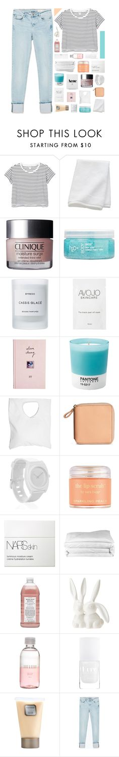 """""""Izzy"""" by lucidmoon ❤ liked on Polyvore featuring Monki, CB2, Clinique, H2O+, Byredo, ASOS, Pantone, Jennifer Haley, H&M and Nixon"""